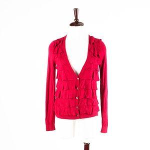 ANN TAYOR – Gorgeous Red Ruffled Cardigan – S